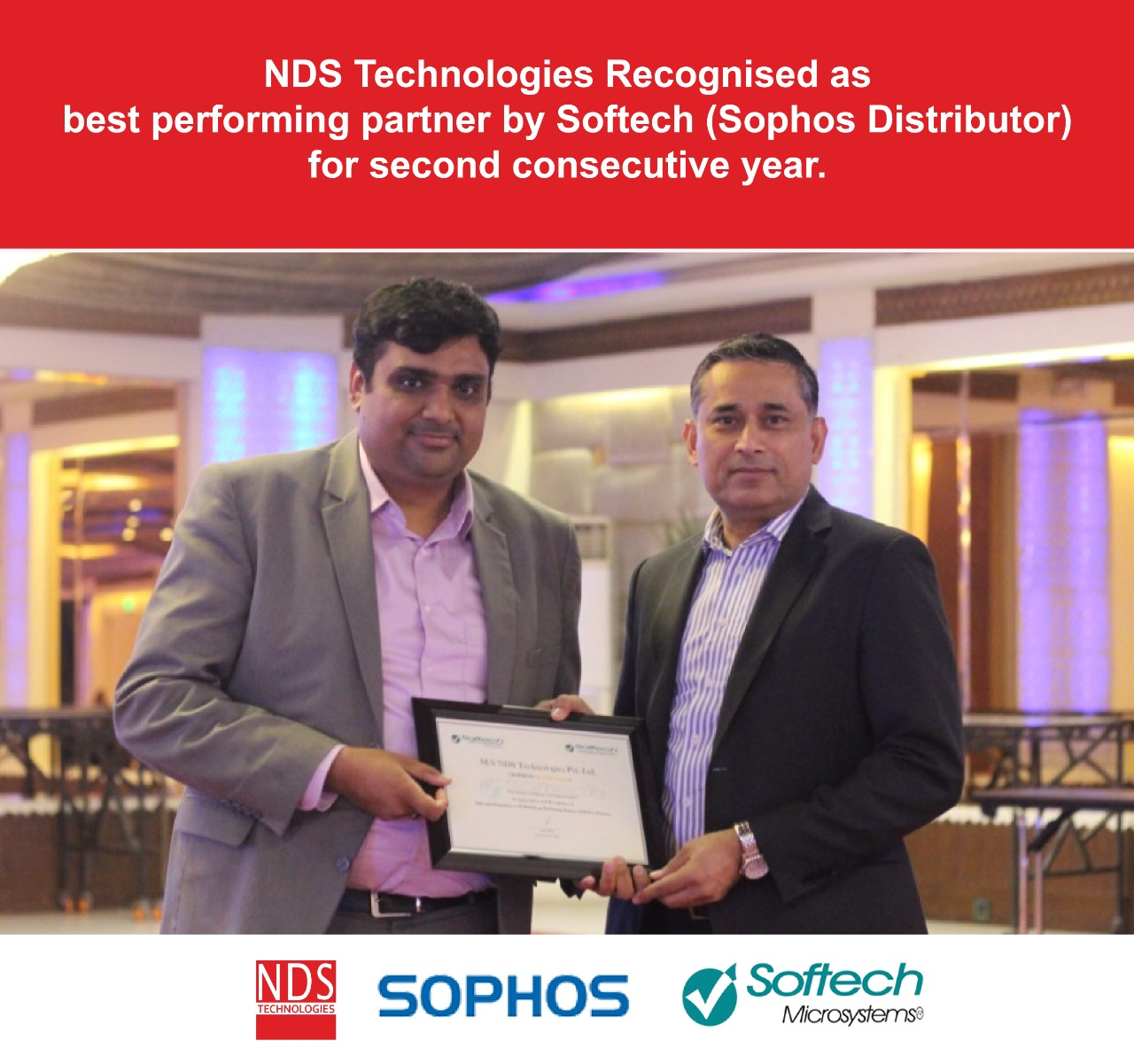 NDS Technologies Recognised as best performing partner by Softech (Sophos Distributor)