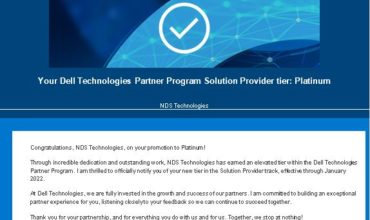 NDS Technologies Pvt Limited is now a Dell Platinum Partner